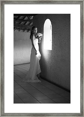 Bride At The Window I. Black And White Framed Print by Jenny Rainbow