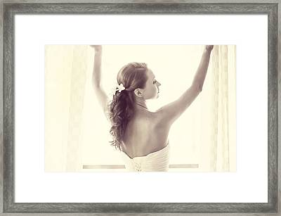 Bride At The Window Framed Print by Jenny Rainbow