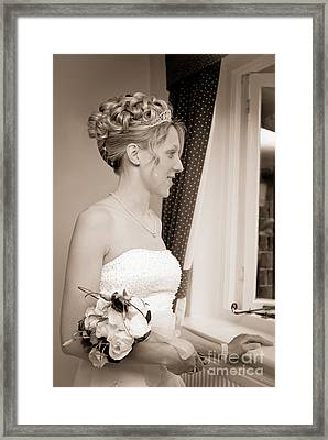 Bride Awaits Her Groom Framed Print