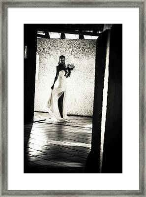 Bride. Black And White Framed Print by Jenny Rainbow