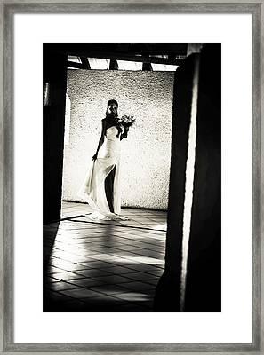 Bride. Black And White Framed Print