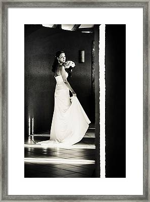 Bride I. Black And White Framed Print by Jenny Rainbow