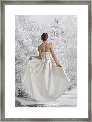Bride In The Snow Framed Print by Angela A Stanton