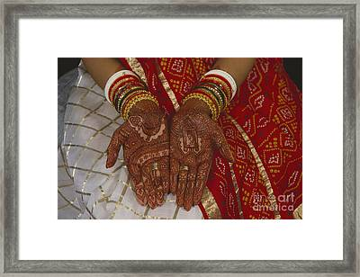Brides Hands India Framed Print by Dhiraj Chawda