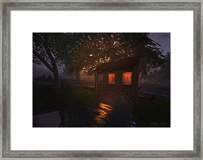 Framed Print featuring the digital art Brideshead Creek Bridge by Kylie Sabra