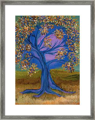 Bridesmaid Tree Blue Framed Print by First Star Art