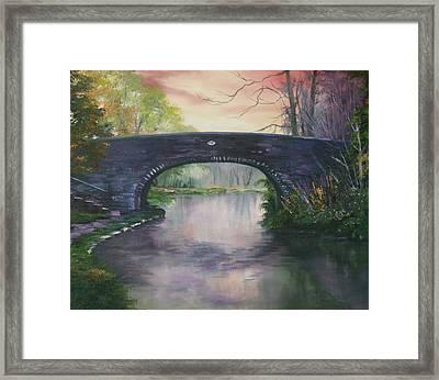 Bridge 91 At Fradley Canal Staffordshire Uk Framed Print by Jean Walker