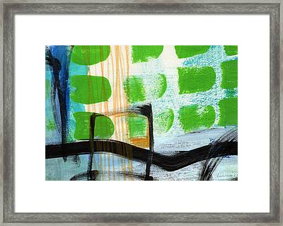 Bridge- Abstract Landscape Framed Print by Linda Woods