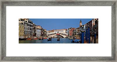 Bridge Across A Canal, Rialto Bridge Framed Print