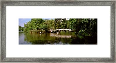 Bridge Across A Lake, Central Park Framed Print by Panoramic Images