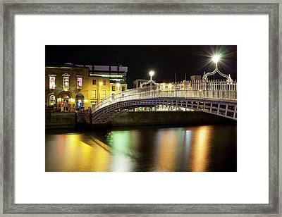 Bridge Across A River At Night, Hapenny Framed Print by Panoramic Images