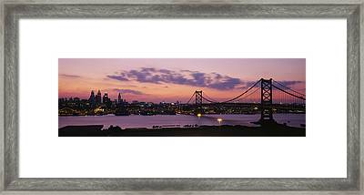 Bridge Across A River, Ben Franklin Framed Print by Panoramic Images