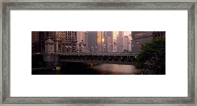 Bridge Across A River, Michigan Avenue Framed Print by Panoramic Images
