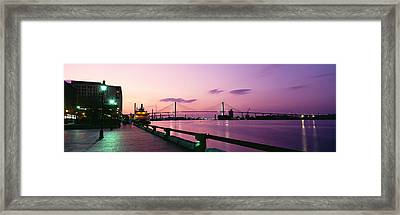 Bridge Across A River, Savannah River Framed Print