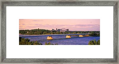 Bridge Across A River With Montreal Framed Print
