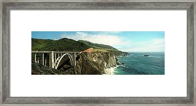 Bridge Across Hills At The Coast, Bixby Framed Print by Panoramic Images