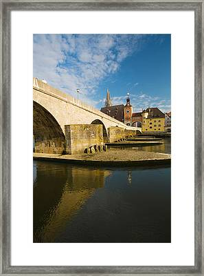 Bridge Across The River, Steinerne Framed Print