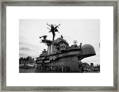 Bridge And Flight Deck Island On The Uss Intrepid At The Intrepid Sea Air Space Museum Framed Print