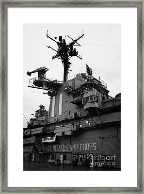 Bridge And Flight Deck Island On The Uss Intrepid At The Intrepid Sea Air Space Museum New York Framed Print by Joe Fox
