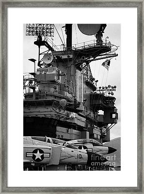 Bridge And Flight Deck Island On The Uss Intrepid New York Framed Print