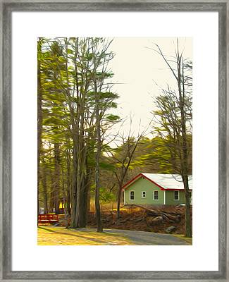 Bridge And Green House  Framed Print