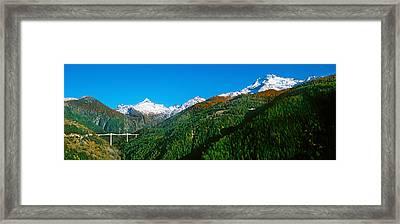 Bridge At Simplon Pass Road In Autumn Framed Print