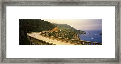 Bridge At The Coast, Bixby Bridge, Big Framed Print by Panoramic Images