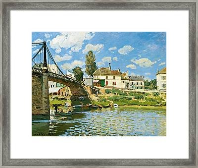 Bridge At Villeneuve-la-garenne Framed Print