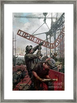 Bridge Construction 1909 Framed Print by Granger
