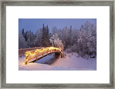 Bridge Decorated With Christmas Lights Framed Print