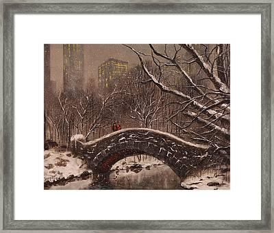 Bridge In Central Park Framed Print by Tom Shropshire