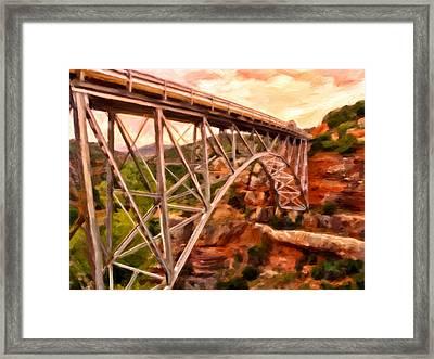 Bridge In Oak Creek Canyon Framed Print by Michael Pickett