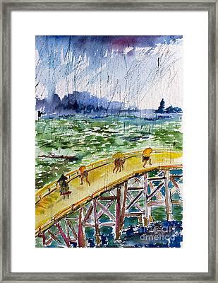 Bridge In The Rain After Van Gogh After Hiroshige Framed Print