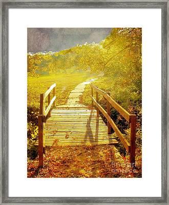 Bridge Into Autumn Framed Print by Janette Boyd