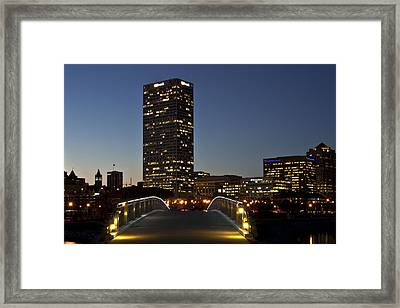 Framed Print featuring the photograph Bridge Into Milwaukee by Deborah Klubertanz