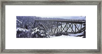 Bridge Leading To A Forest, Deception Framed Print by Panoramic Images