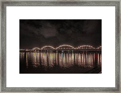 Framed Print featuring the photograph Bridge Lights by Ray Congrove