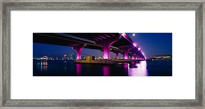 Bridge Lit Up Across A Bay, Macarthur Framed Print