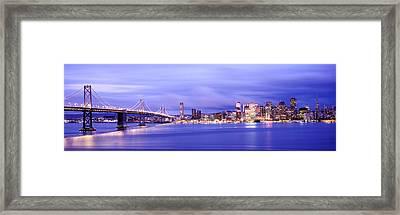 Bridge Lit Up At Dusk, Bay Bridge, San Framed Print by Panoramic Images