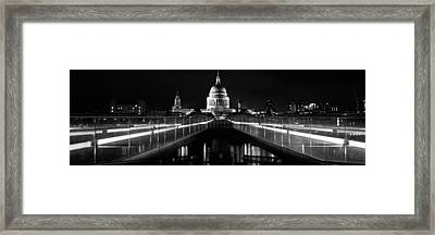 Bridge Lit Up At Night, London Framed Print by Panoramic Images
