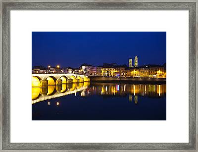 Bridge Lit Up At Night, Pont St-laurent Framed Print by Panoramic Images