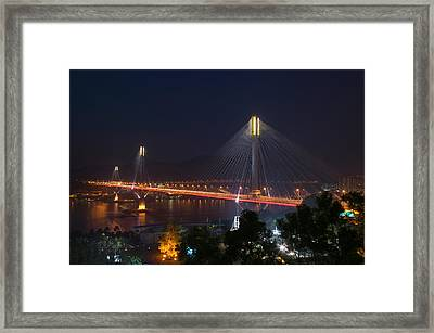 Bridge Lit Up At Night, Ting Kau Framed Print by Panoramic Images