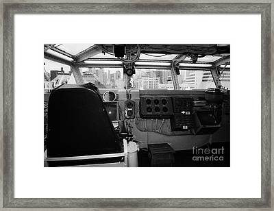 Bridge Of The Uss Intrepid Looking Out At Manhattan At The Intrepid Sea Air Space Museum Framed Print by Joe Fox