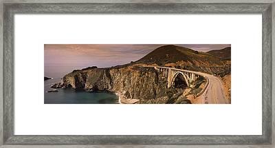 Bridge On A Hill, Bixby Bridge, Big Framed Print by Panoramic Images