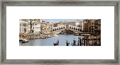 Bridge Over A Canal, Rialto Bridge Framed Print