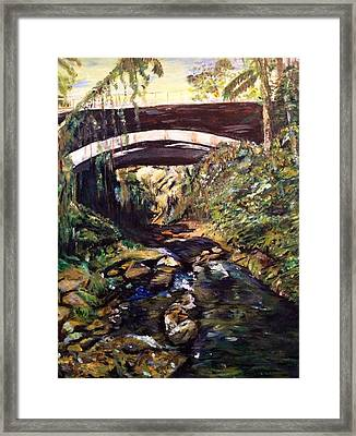 Bridge Over Calm Waters Framed Print by Belinda Low