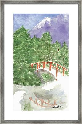 Bridge Over Frozen Water Framed Print