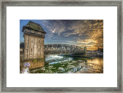 Bridge Over Icey Waters Framed Print by Nathan Wright