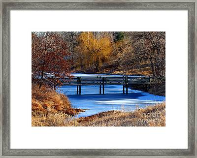 Framed Print featuring the photograph Bridge Over Icy Waters by Elizabeth Winter