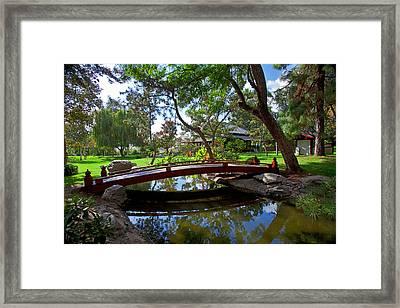 Bridge Over Japanese Gardens Tea House Framed Print